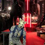 Spot beside big pup statues