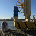 Spot sat beside dock crane